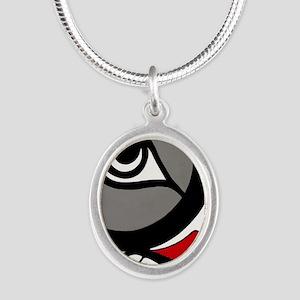 Kushtaka (Bigfoot) Silver Oval Necklace