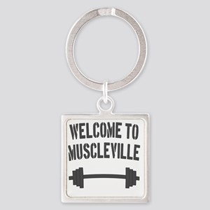 Welcome to Muscleville Square Keychain