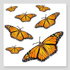 """Monarch Butterflies Square Car Magnet 3"""" x 3"""""""