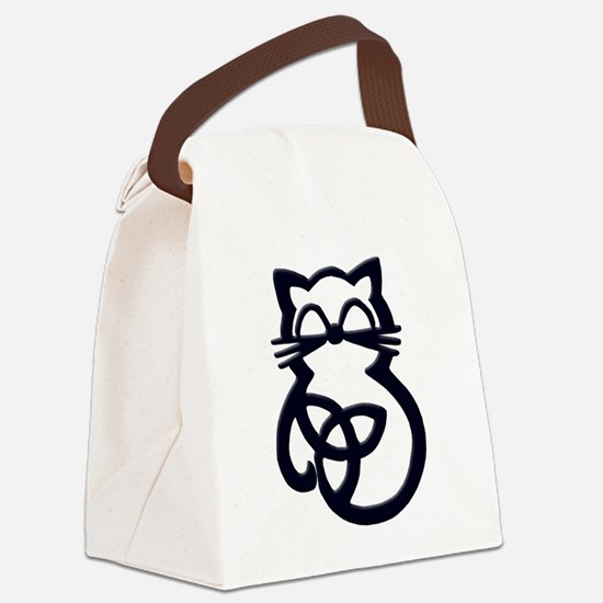 Black Trinity Knot Celtic Cat Canvas Lunch Bag