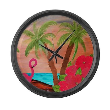 Flamingo in Paradise Large Wall Clock