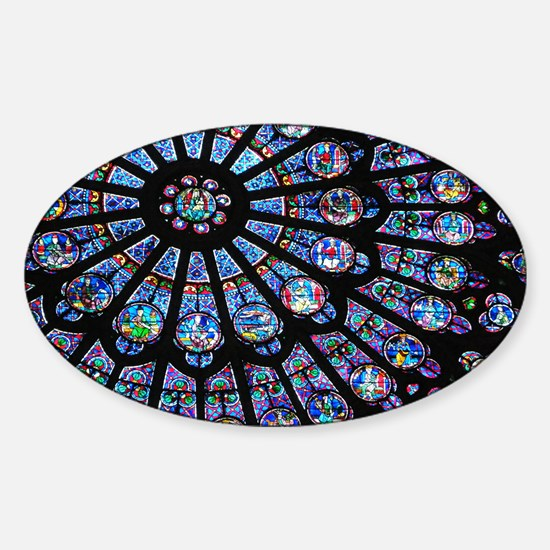 Stained glass window Notre Dame Sticker (Oval)