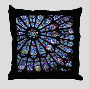 Stained glass window Notre Dame Throw Pillow