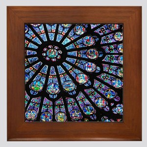 Stained glass window Notre Dame Framed Tile