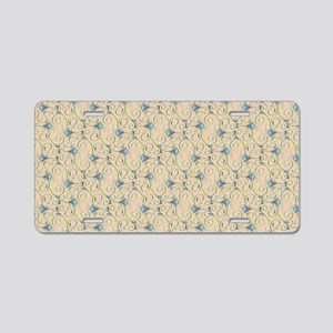 Blue and Green Floral Swirl Aluminum License Plate