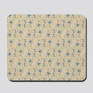 Blue and Green Floral Swirls Mousepad