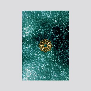 Teal and Gold Metal Flower Rectangle Magnet