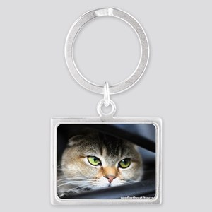 noodles the cat bright green ey Landscape Keychain