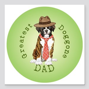 "boxer dad-button2 Square Car Magnet 3"" x 3"""