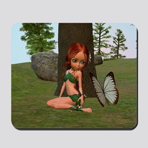 Forest Elf Girl and Butterfly Mousepad