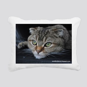 Noodles the cat thinking Rectangular Canvas Pillow