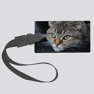 Noodles the cat thinking about y Large Luggage Tag