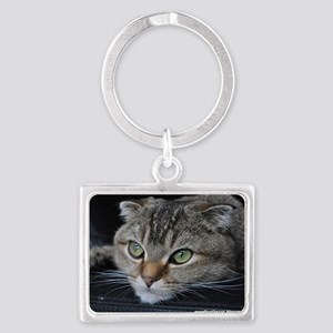 Noodles the cat thinking about  Landscape Keychain