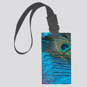 Purple and Teal Peacock Large Luggage Tag