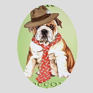 bulldog dad-card Oval Ornament