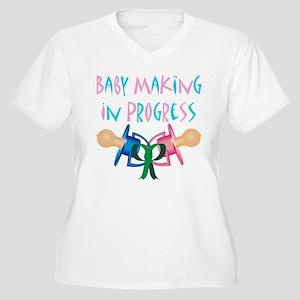Baby Making in Progress Women's Plus Size V-Neck T
