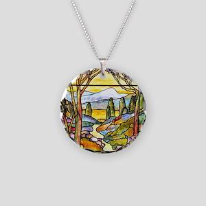Tiffany Landscape Window Necklace Circle Charm
