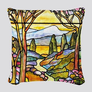 Tiffany Landscape Window Woven Throw Pillow