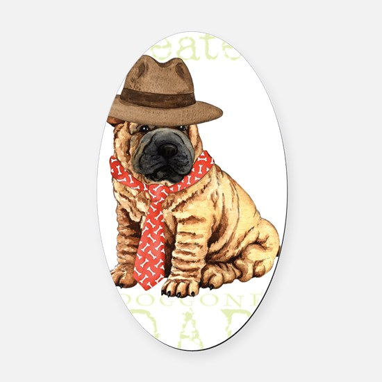 sharpei dad1T Oval Car Magnet