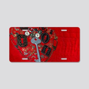 Stempunk Red Heart Aluminum License Plate