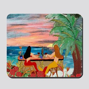 Mermaid Tiki Sunset Wine Bar Mousepad