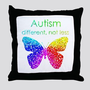 Autism Butterfly, different, not less Throw Pillow