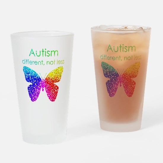 Autism Butterfly, different, not le Drinking Glass