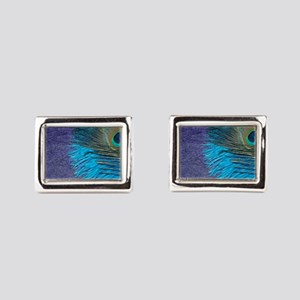 Purple and Teal Peacock Cufflinks