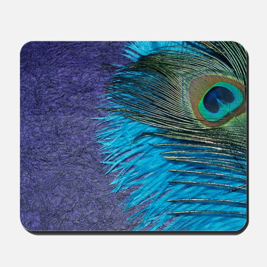 Purple and Teal Peacock Mousepad