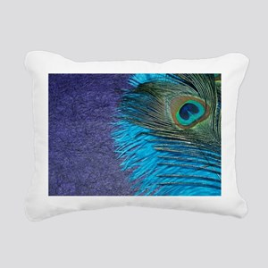Purple and Teal Peacock Rectangular Canvas Pillow