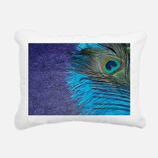 Purple and Teal Peacock Rectangular Canvas Pillow