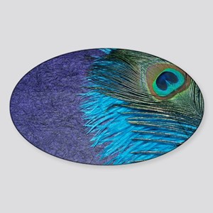 Purple and Teal Peacock Sticker (Oval)