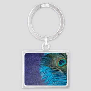 Purple and Teal Peacock Landscape Keychain