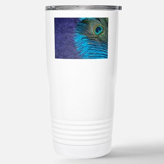 Purple and Teal Peacock Stainless Steel Travel Mug