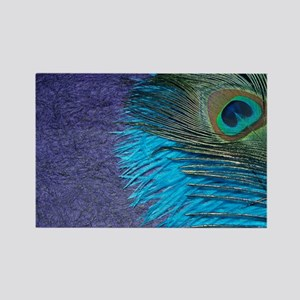Purple and Teal Peacock Rectangle Magnet