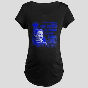 The Future Is Teslas Maternity Dark T-Shirt
