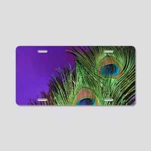 Purple Foil Peacock Aluminum License Plate