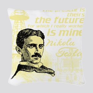 The Future Is Teslas Woven Throw Pillow