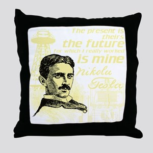 The Future Is Teslas Throw Pillow