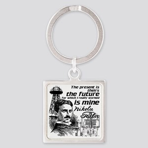 The Future Is Teslas Square Keychain