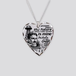 The Future Is Teslas Necklace Heart Charm