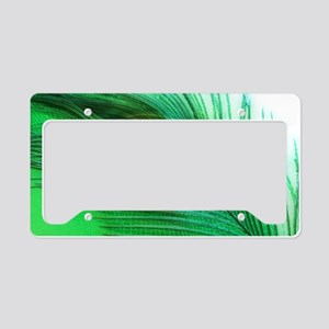 Green and White Peacock License Plate Holder