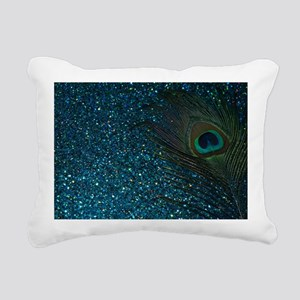 Glittery Aqua Peacock Rectangular Canvas Pillow