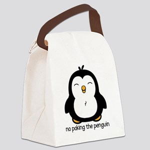 No Poking The Penguin Canvas Lunch Bag