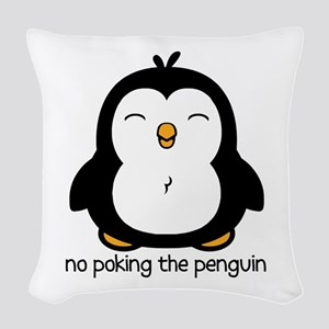No Poking The Penguin Woven Throw Pillow