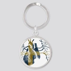 Swedish Flag in Real heart Round Keychain