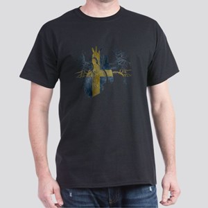 Swedish Flag in Real heart Dark T-Shirt