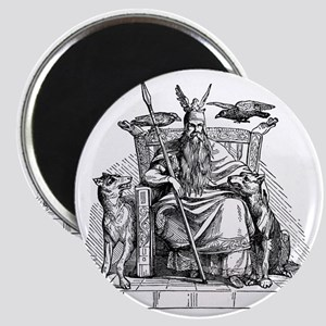 Odin with Ravens and Wolves Magnet