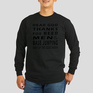 Beer Men and Base Jumping Long Sleeve Dark T-Shirt