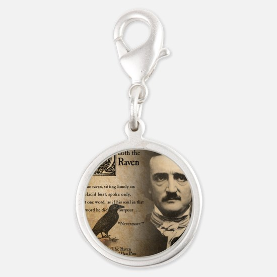 Edgar Allan Poe and Raven Neve Silver Round Charm